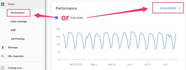 going to performance dashboard in Google Search Console