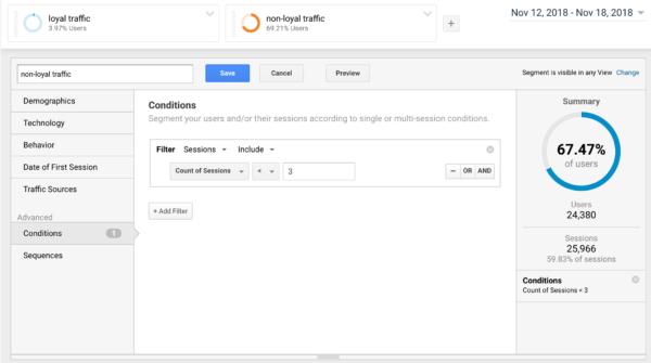 Building a non-loyal segment in Google Analytics