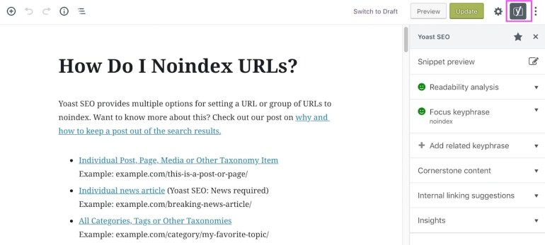 Yoast SEO in the sidebar WordPress 5.0