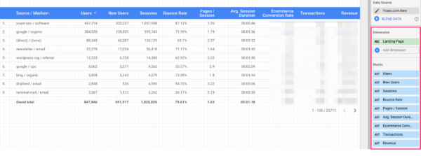 Recreating the Source / Medium report in Google Data Studio