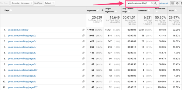 Search for one page in Google Analytics
