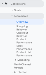 eCommerce data in Google Analytics