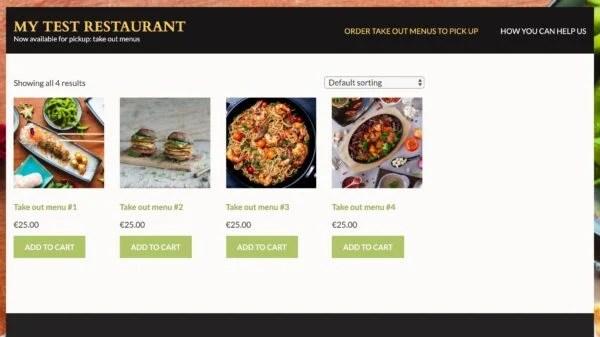 A restaurants menu on display in their webshop