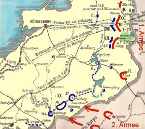 Batalla de Gumbinnen. Fuerzas alemanas en azul, rusas en rojo.