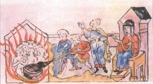 """Soldados """"calentánose"""" en la sauna frente a Olga."""