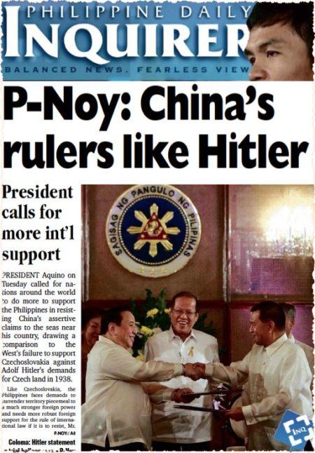 ״שליטי סין -- כהיטלר״, מצטט עתון במנילה את הנשיא בניגנו אקינו, ששה בפברואר 2014. Noy הוא כינוי החיבה של הנשיא. הוא השמיע את ההשוואה ההיסטורית בראיון ב׳ניו יורק טיימס׳, שהידהד בכל רחבי אסיה