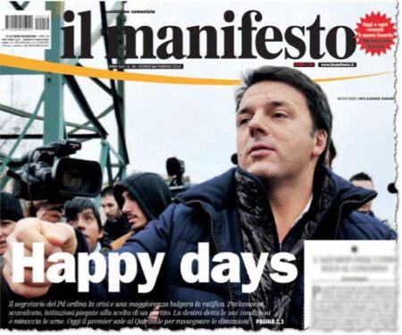 ׳איל מניפסטו׳, עתון קומוניסטי ברומא, מודיע על עליית רנצי בכותרת ראשית, באנגלית. למען האמת, רנצי אינו נושא חדשות טובות לשמאל הרדיקלי. הרפורמות שהוא רוצה נועדו, בין השאר, להגמיש את שוק העבודה