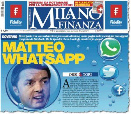 ראש הממשלה כאפליקציה: עתון פיננסי במילאנו משווה את מתיאו רנצי עם WhatsApp. יפה מאוד, שווה הרבה כסף, אבל בוא נראה עכשיו לאיזו נבחרת הצטרפת (22 בפברואר 2014)