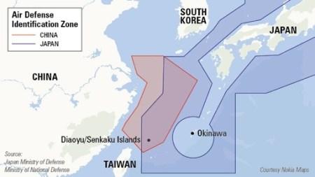 שמי ים סין המזרחי, שסין תובעת עליהם בעלות. (המקור: אתר CNN)