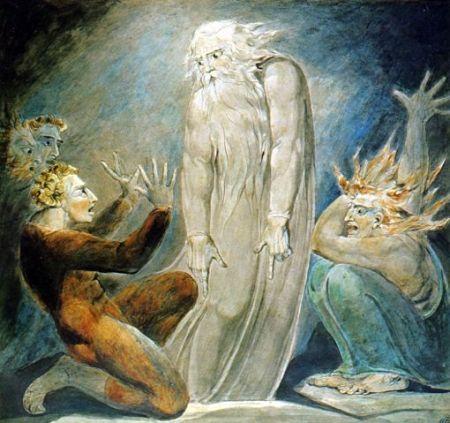 שמואל הרואה ואינו נראה נראה לשעה קלה בעין-דור לעיני שאול הכמעט-כבר-לא-מלך (ציור של רוברט בלייק, סביב 1800)