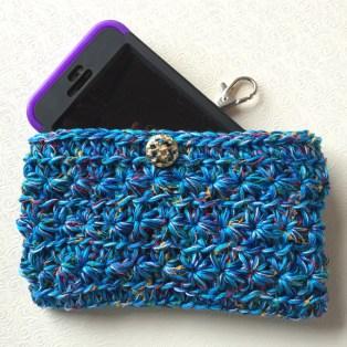 Crochet blue phone case