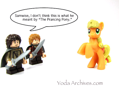 my little pony   Yoda Archives  Macro adventures of a Jedi Master My Little Prancing Pony Stars LEGO Frodo Baggins and Samwise Gamgee  from  Shelob Attacks 9470 and Gandalf Arrives 9469  and MLP Apple Jack