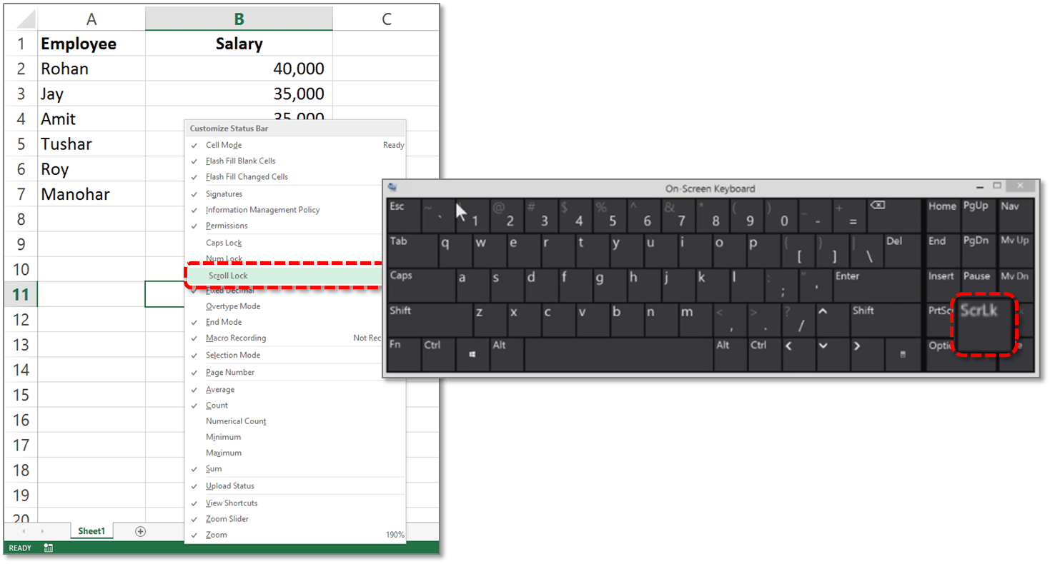 Enable Disable Scroll Lock Quickly In Excel