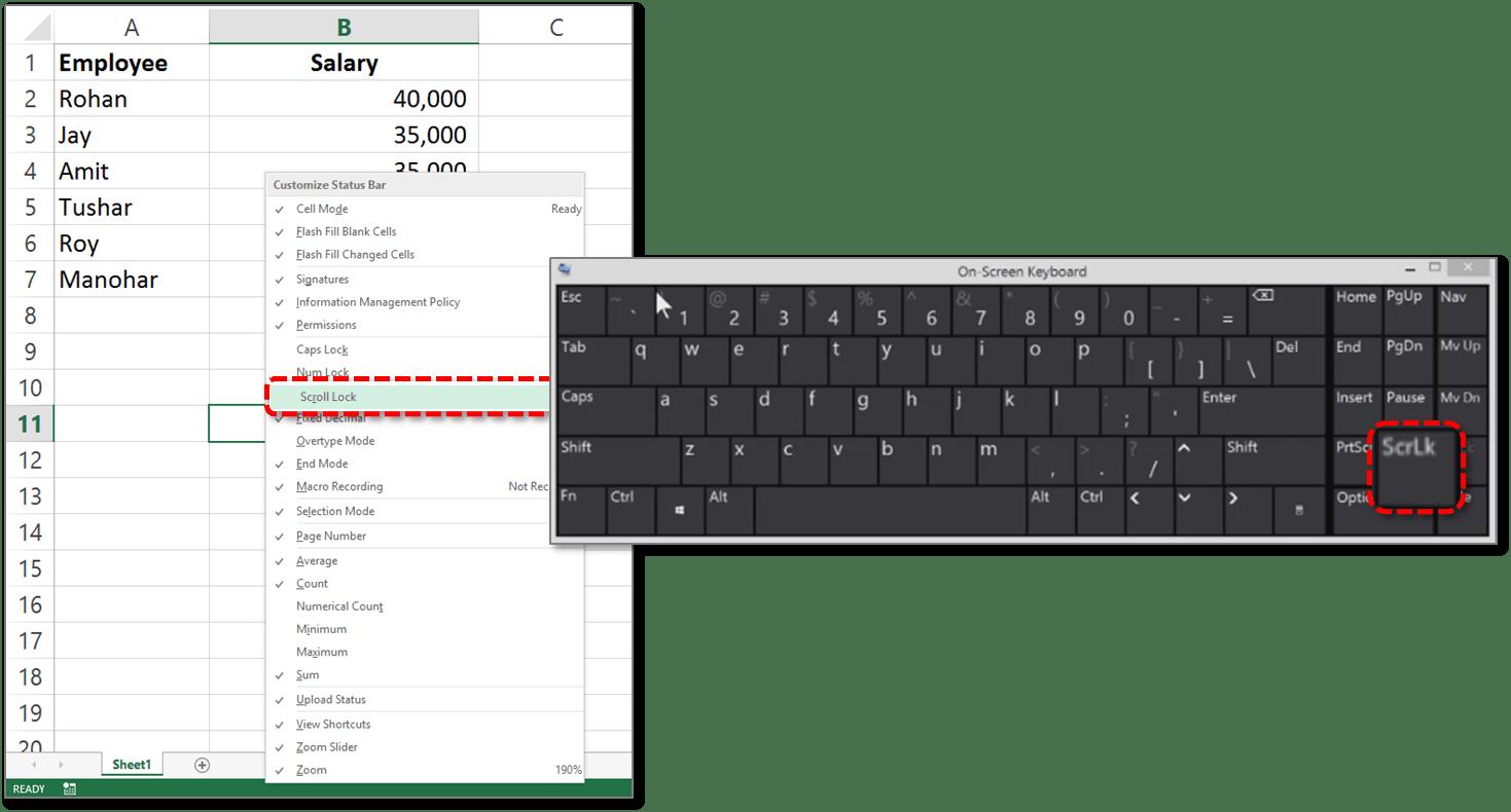 Turn On Off Scroll Lock In Excel