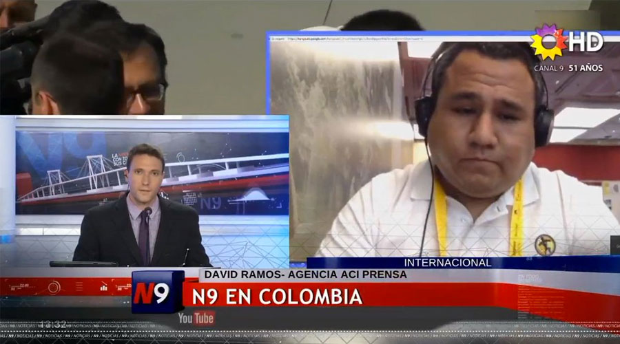 Entrevista con Canal 9 de Resistencia, Argentina, sobre el viaje del Papa Francisco a Colombia