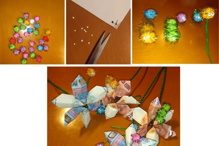 decorar ramo flores billetes