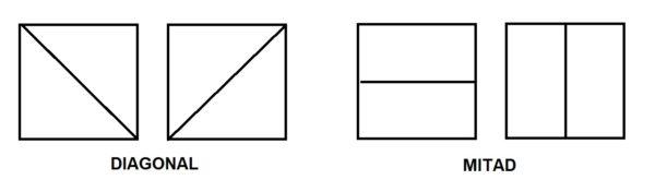 mitad y diagonal origami