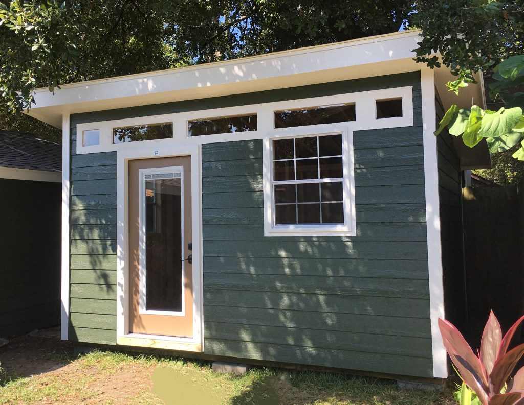 A storage shed built by a Houston exterior construction contractor.