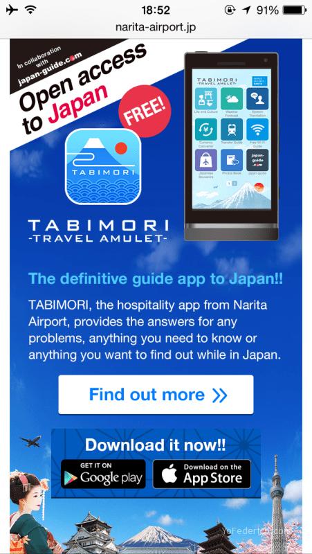 TABIMORI, app gratuita del Aeropuerto de Narita con info útil de Japón