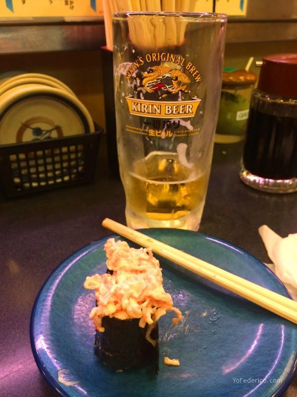 Sushi de Langostinos en Kaiten Sushi