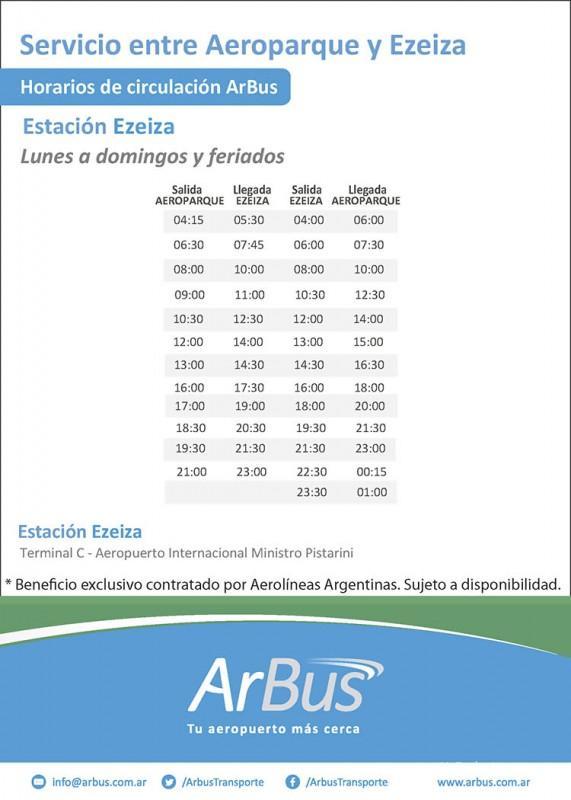 ArBus Servicio entre Aeroparque y Ezeiza