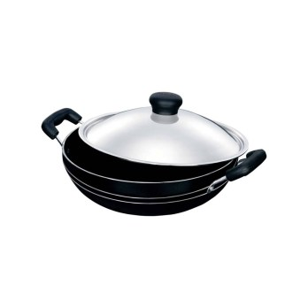 Kelhome Non Stick Kadai 24cm With Stainless Steel Lid