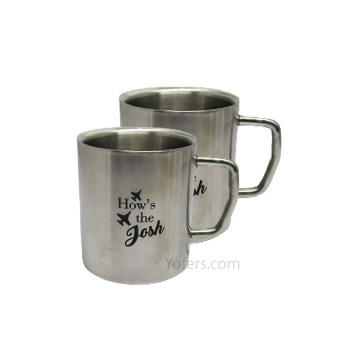 Coconut Stainless Steel Double Wall Coffee Mug 300ml (Set of 2)