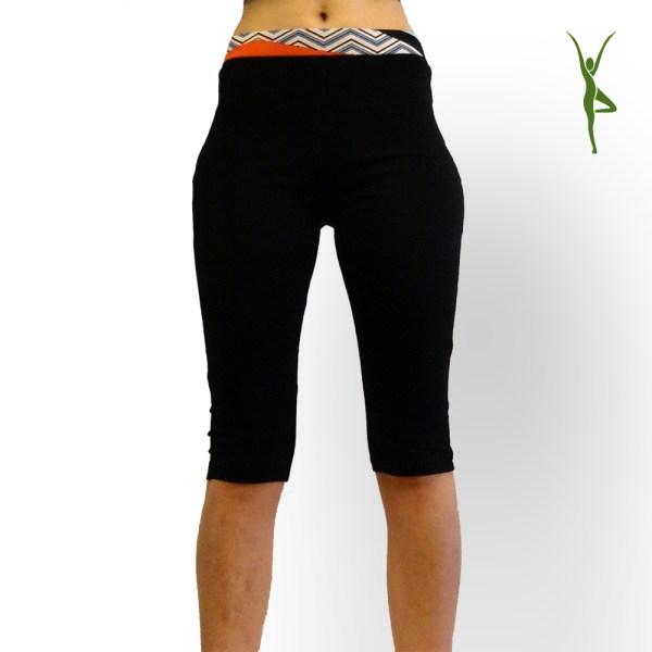 Yoga Legging kort biologisch katoen zwart - Yoganic