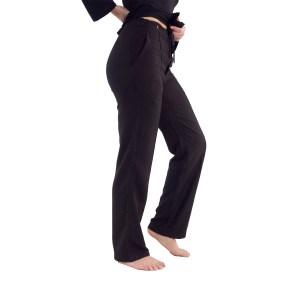 Yogabroek zwart dames - bio katoen broek - getaillieerd