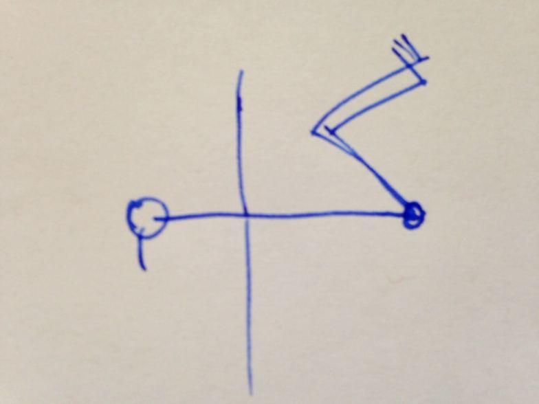Das Bild zeigt eine Drehhaltung am Boden, von oben betrachtet. In der Rückenlage die Füße aufstellen, dann das Becken nach rechts versetzen und die Knie nach links sinken lassen, eventuell auf ein Kissen oder bis zur Erde. Die Arme strecken und den Kopf nach rechts drehen.