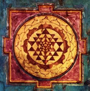 El mandala más importante de la tradición hindú, que simboliza la creación a partir de la unión de los aspectos femenino y masculino de la divinidad.
