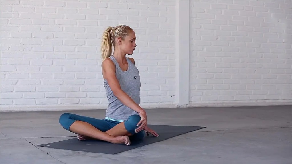 Seated Twist reduces stiffness in the neck and shoulders.