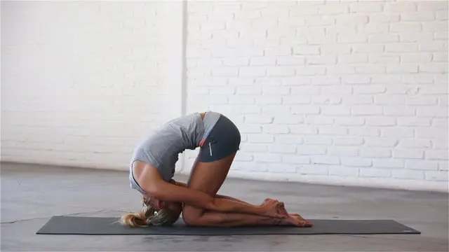 Rabbit pose is the deepest forward bend in yoga.