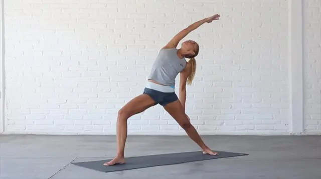 Reverse Warrior is a side-bending standing pose.