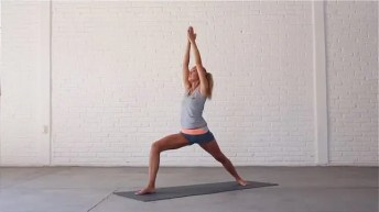 Warrior 1 is a classic yoga pose and groin stretch.