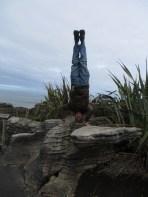 Pancake Rocks Headstand, Punakaiki, New Zealand