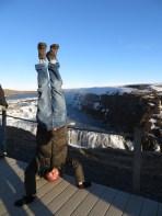 Gulfoss Waterfall Headstand, Iceland