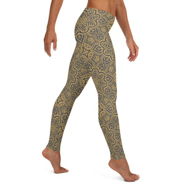 Emerald Gold Mandala Pattern Leggings
