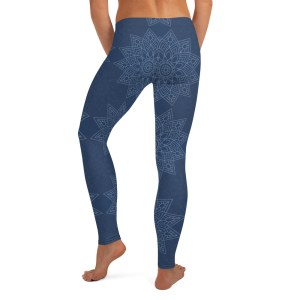 Blue Flower Mandala Yoga Leggings
