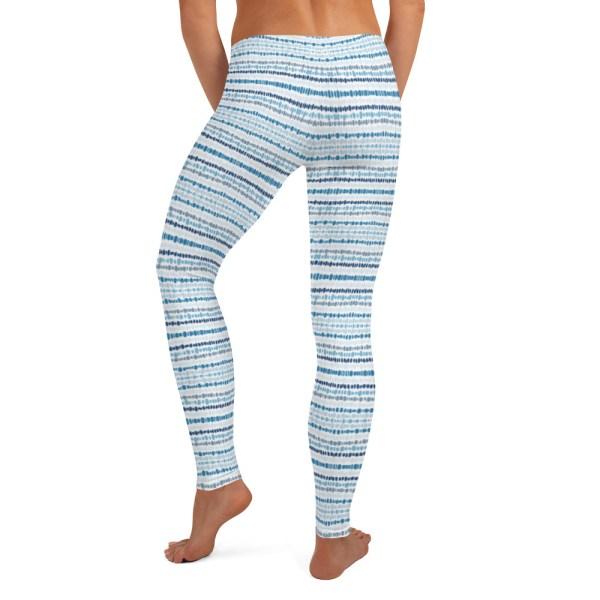 Blue Dot Batik Print Yoga Leggings