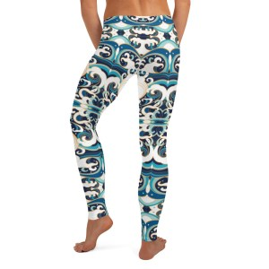 Japanese Wave Print Yoga Leggings