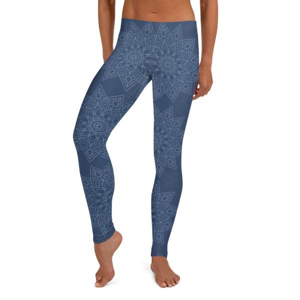 Blue Flower Mandala Yoga Leggings