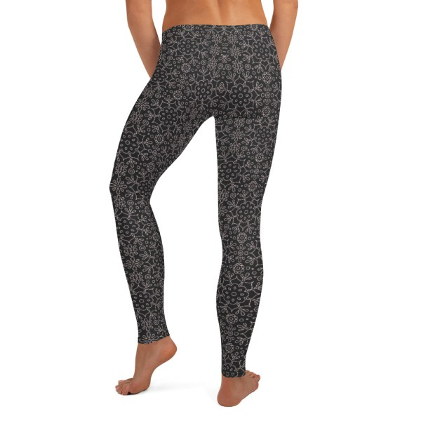 Black Rangoli Pattern Yoga Leggings