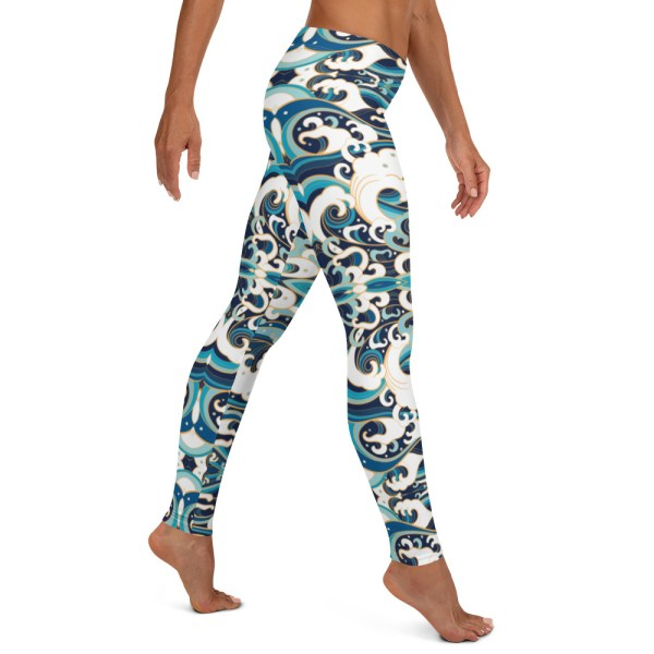 Japanese Wave Print Yoga Leggings
