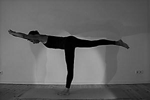"""Sowohl die Standwaage, auf Sanskrit """"Viravadrasana"""", als auch viele andere Asanas gehören in die Yogalehrer Aubildung mit Dr. Mohme. Als Ärztin & Ayurvedaärztin achtet sie selbstverständlich auf das körpergerechte & gesunde Ausüben der Yogaasanas. Die Standwaage stärkt Dich & übt Deinen Gleichgewichtssin, Deine Balance. Wenn Du achtsam bist, nimmst Du immer auch wahr, was in Deinem Inneren während des Übens der Asanas vor sich geht. Weil dies wichtig ist, regt Wiebke Dich immer wieder dazu an."""