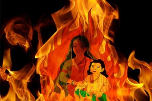 Le démon-roi Hiranyakashipu avait réussi à obtenir un pouvoir qui le rendait quasi-indestructible et il en tirait un tel orgueil qu'il se considérait comme un dieu et voulait qu'on le vénère comme tel. Mais le fils d'Hiranyakashipu, Prahlada ne voulait pas se plier aux désirs de son père et continuait à honorer Vishnu, le dieu préservateur de l'ordre du monde (du dharma). Hiranyakashipu, fou de rage essaya d'assassiner son fils par tous les moyens, mais sans succès. Il trouva donc un subterfuge. Holika, la sœur de Prahlada avait obtenu le pouvoir de rester insensible au feu. Alors son père lui demanda de prendre son frère sur ses genoux et de s'asseoir au centre d'un brasier. Utiliser ce pouvoir pour tuer ne fut pas du tout du goût des dieux qui le lui retirèrent immédiatement et elle fut réduite en cendres. Prahlada par contre protégé par sa dévotion envers Vishnu survécut et plus tard après que Vishnu ait tué Hiranyakashipu, il prit la place de son père sur le trône. C'est cet épisode du brasier qui est rappelé lors de cette première journée d'Holi, le bien qui a le dessus sur le mal, le feu purificateur. L'histoire d'Hiranyakashipu raconte l'histoire d'un être humain qui se laisse dépasser par son ego et qui oublie ses limites et ne s'inscrit plus dans le cadre du dharma (les lois cosmiques). La loi du karma est là pour rappeler qui nous sommes, une conscience en action dans le monde, rien de plus rien de moins.
