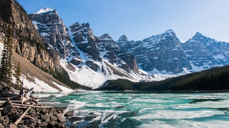 Snowcapped mountains and blue lake