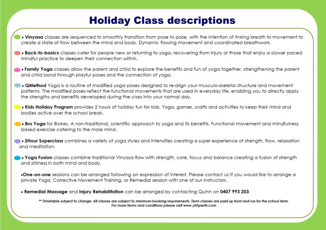 Holiday Timetable Term 2 july class descriptions