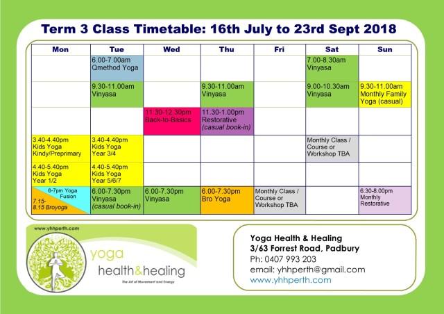 Timetable Term 3
