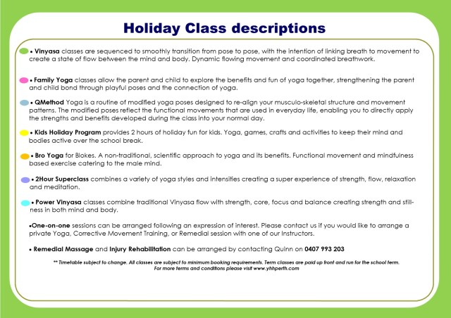 Holiday Timetable Sept 2018 Class descriptions
